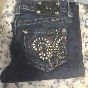 Miss Me Fleur de Lis straight leg dark wash jeans